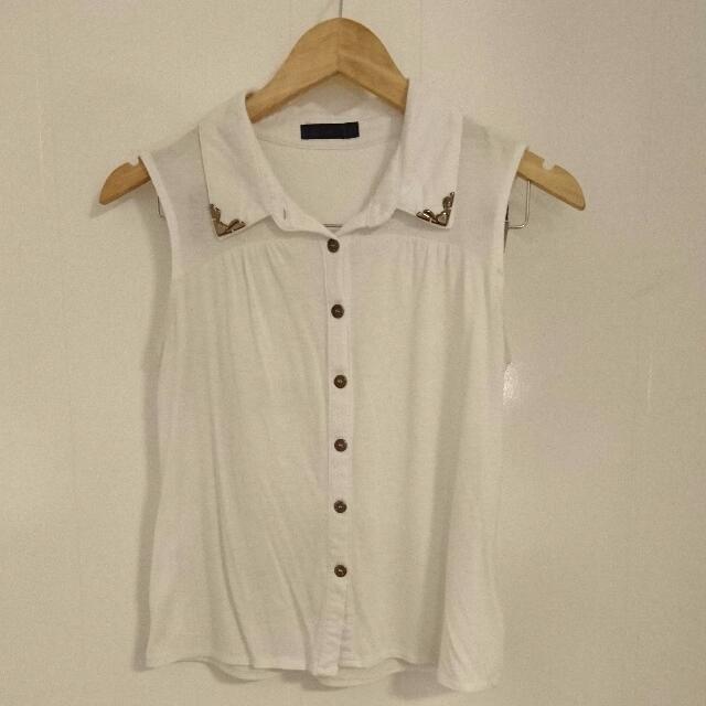 White Sleeveless Top - Size S