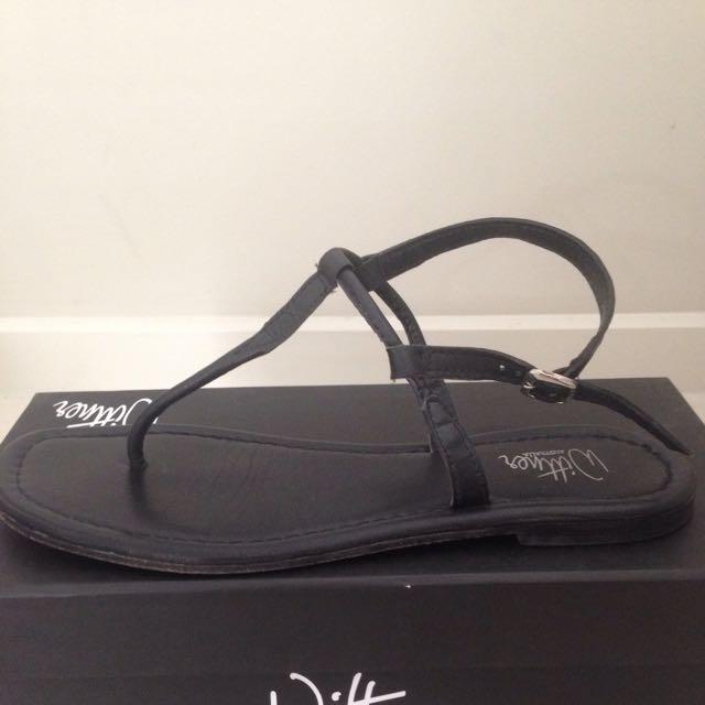Wittner - Size 38 - Skinny Black All-Leather Sandals