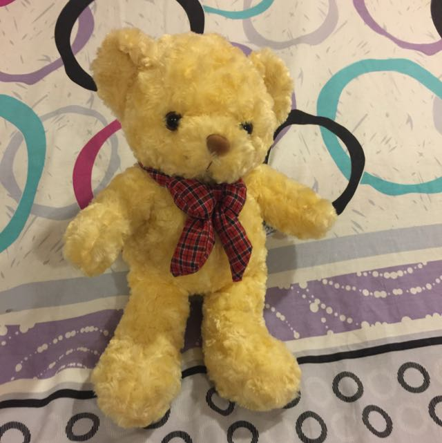 Yellow Bear With Red Plaid Ribbon 💓💓💓