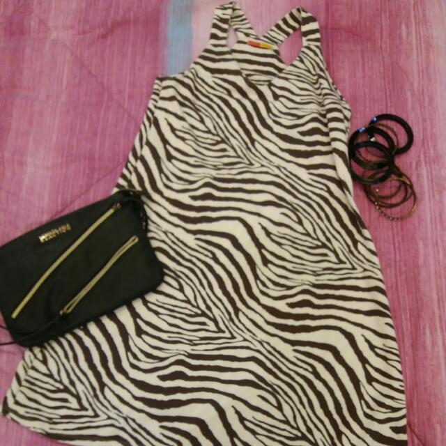 zebra print halter dress