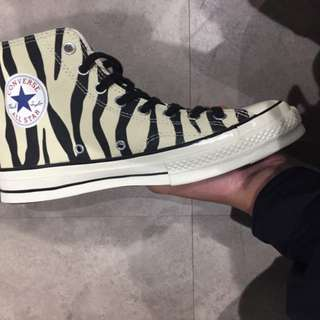 Convers 1970 斑馬紋 高筒 帆布鞋 黑色 芥末黃 粉紅色
