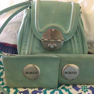 Mimco Faded Turquoise Offbeat, Mim Wallet & Pouch