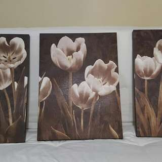 3 Piece Neutral Floral Wall Decor