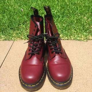 Maroon Doc Marten Boots