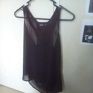 Casual Black See Through Singlet