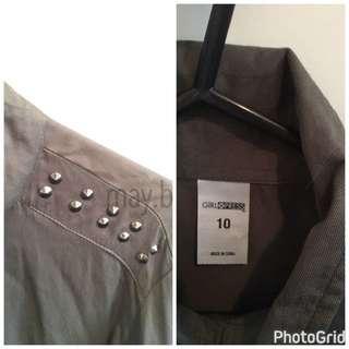 Studded Collar Ladies Shirt Size 10 Camo Green