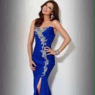 Royal blue serpentine Gown