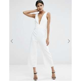 ASOS Structured Plunge Jumpsuit With Culotte Leg In Ivory | Size 8