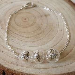 熏衣草 玻璃球手鏈 Handmade lavandula pedunculata glass bracelet