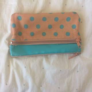 pencilcase sportsgirl peach orange aqua blue polka dot