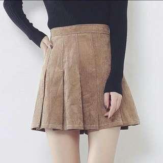 Camel Brown Corduroy Tennis Skirt