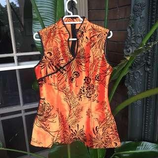 Orange Oriental Silk Style Top