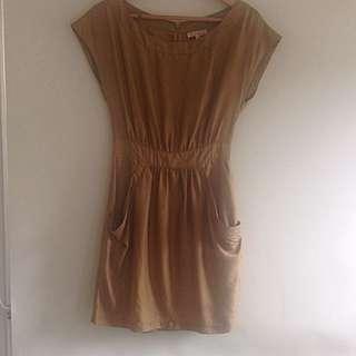 Fleur wood Golden Silk Dress Size 0