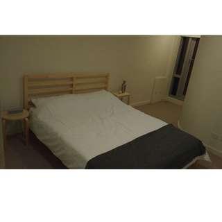 Wooden Bed Frame (incl. Mattress, Bedding & Bedsite locker)
