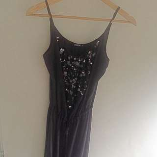 Black Silk Mimosa Maxi Dress With Beaded Detail Size 8
