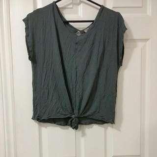 Grayish Green Tie Up Top (Size L)