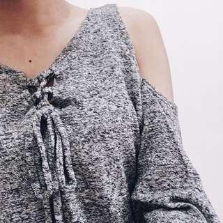 off-shoulder gray