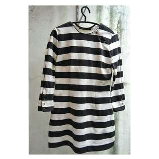 ZARA Woman Black White Stripes Dress