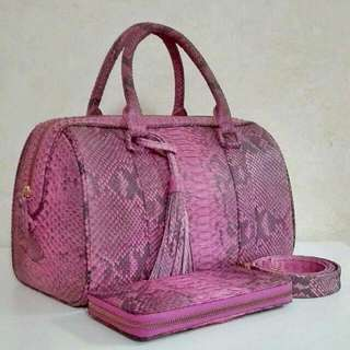 Genuine Python Skin Leather Bag With Wallet In Matte Finish