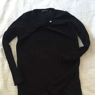 Country Road Black High Neck Shirt With Side Slits