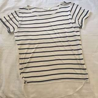 Seed Small Striped Tshirt With Sheer Lower Back