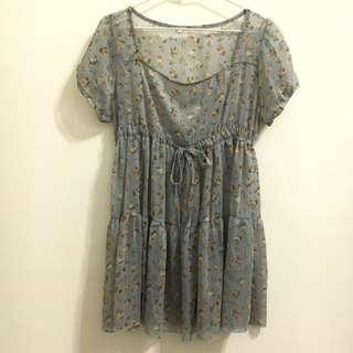 復古藍色碎花洋裝