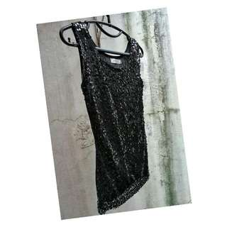 Sequin Black Top - Atasan Berpayet