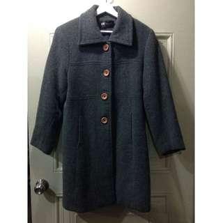 煙灰色 中長版古著大衣 (肩寬55)