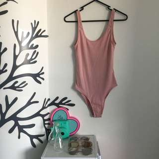 Pink Bodysuit With Low Cut Back