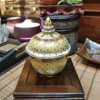 Thailand Gray cup offering water for Buddha
