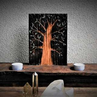 Rustic Etched Tree Of Life Candle Holder