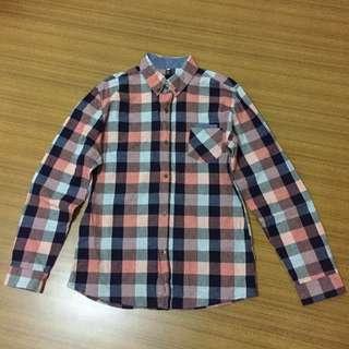 韓製牛仔紅藍格子襯衫