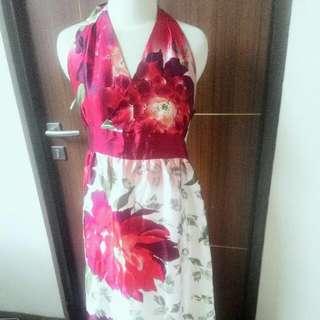 DRESS  Party FLOWER SILK  BUNGA SUTRA Panjang Pesta