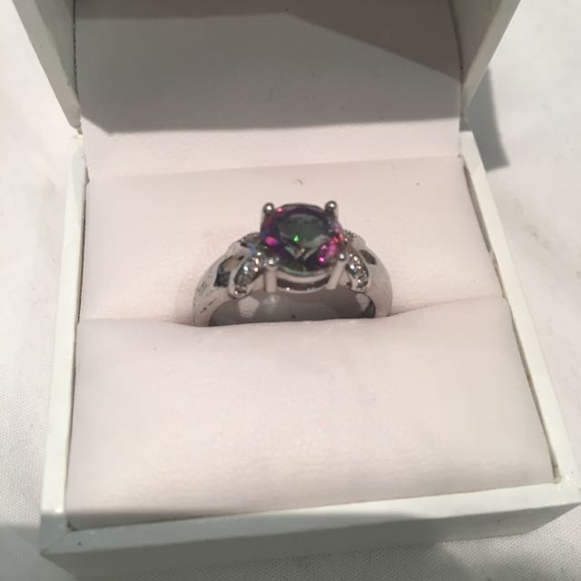 18K White Gold Plated Ring with Mystic Topaz