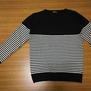 黑白條紋個性毛衣