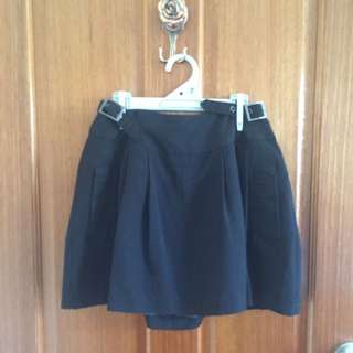 Black Box Skirt With Belt Detail