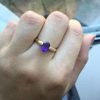 14k Gold Ring With Purple Sapphire Diamond