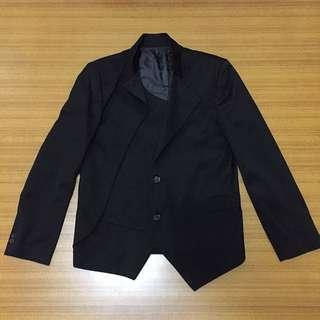 BIG elephant 黑色特殊剪裁西裝外套