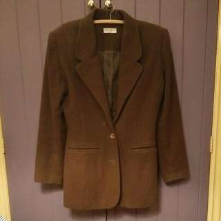 Vintage 80s Brown Wool Jacket Size 12