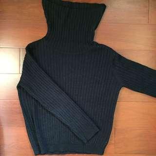 Gu寬口高領毛衣
