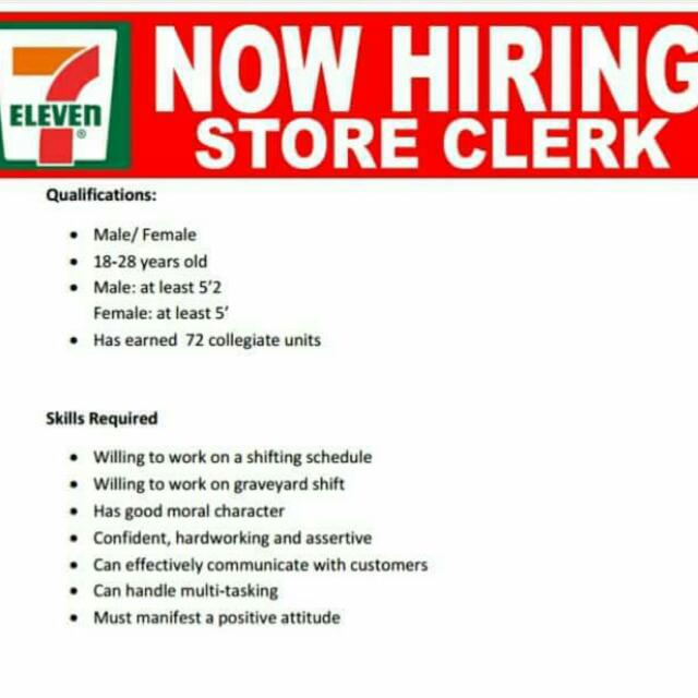 7-11 Store Clerks Job In Cubao Area