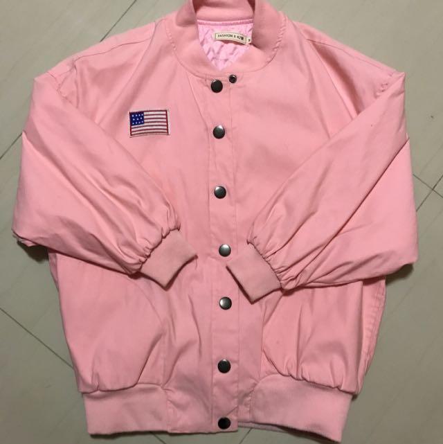 粉色美式外套
