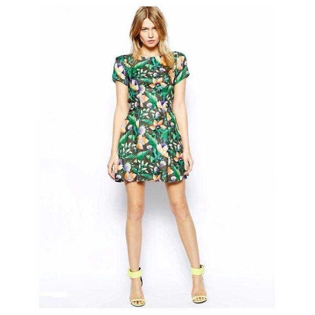 ASOS Love Skater Dress in Tropical Floral