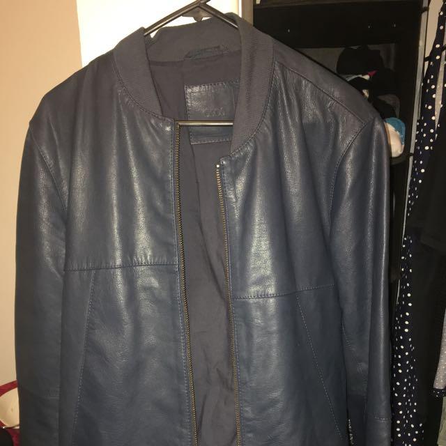 Asos Navy Leather Jacket