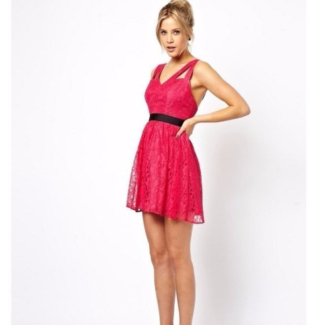 ASOS PETITE Exclusive Lace Skater Dress with Cut Out Strap