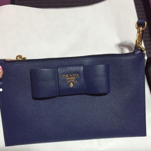 efa7356e79a2 BNIB : Authentic Prada Wristlets Blue, Luxury, Bags & Wallets on ...