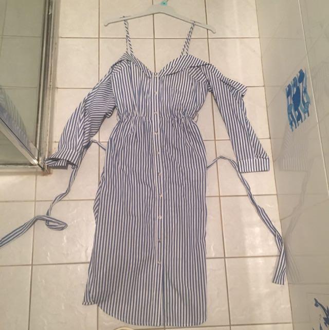 Bardot Stripe Sweet Heart Half Sleep Dress With Tie Around