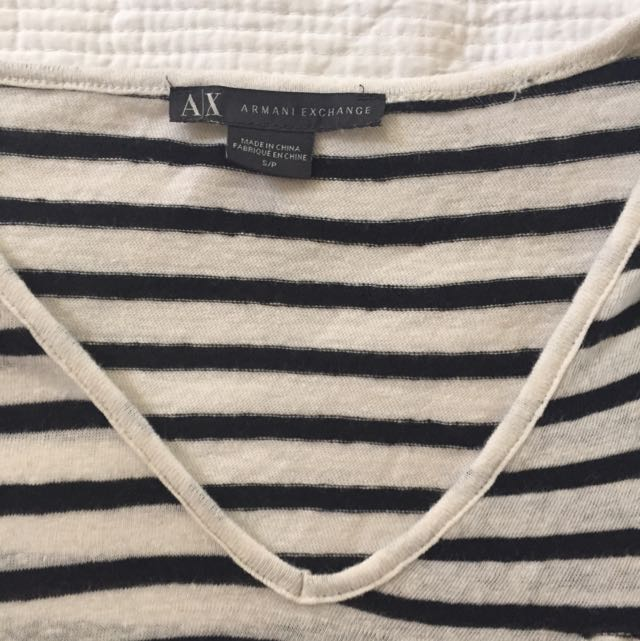 Armani Exchange Black And White Striped V-neck