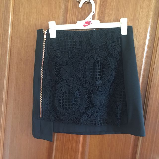 Black Bodycon Skirt With Crochet Detail