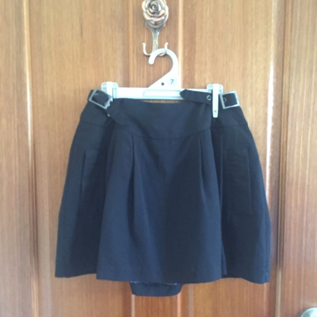 Black Box Skirt With Belt Detail